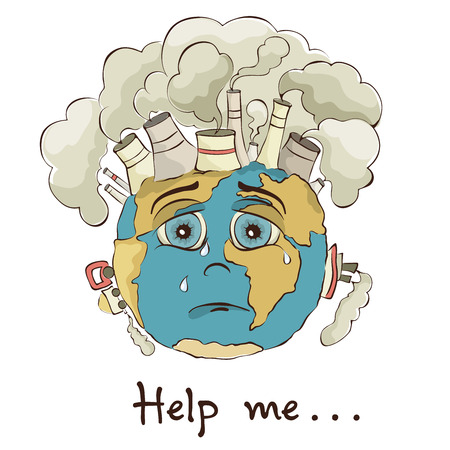 environmental issues: Illustration - crying Earth