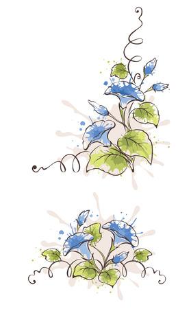 bindweed: Vector pattern of blue flowers bindweed