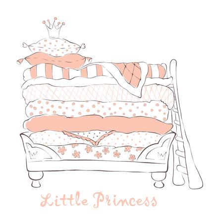 Bed voor de kleine Prinses op de erwt - vector illustratie