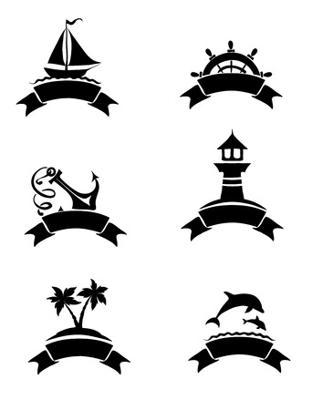 palm trees silhouette: Set of abstract illustrations - sea theme