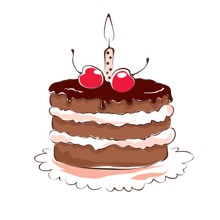 Chocolate cake with cherry and candle Illustration
