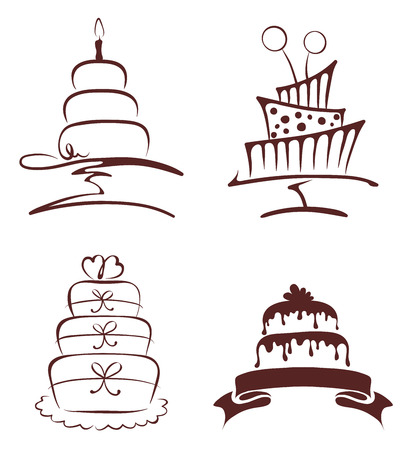 Set of abstract cakes Stock Illustratie