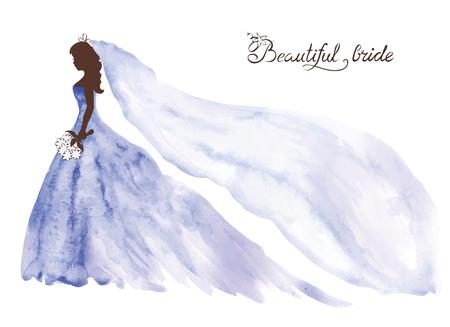 Watercolor vector illustration -- beautiful bride  イラスト・ベクター素材