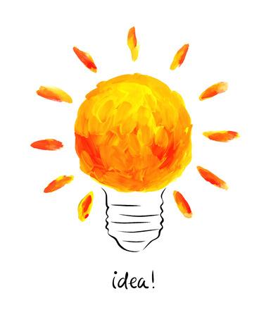 bright idea: Vector illustration  bright idea. Drawing brush strokes.