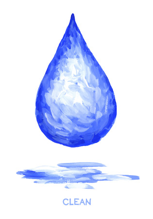 waters: Vector illustration  drop clean waters. Drawing brush strokes.