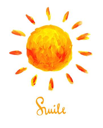 illustrazione sole: Illustrazione del sole e sorriso. Disegno pennellate.