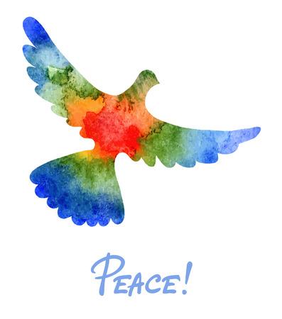 simbolo paz: Ilustración vectorial acuarela paloma de la paz Vectores
