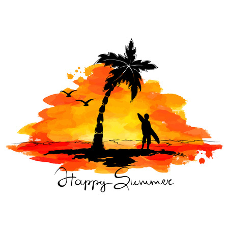 Sunset landscape vector: Abstract illustration summer beach surfing Hình minh hoạ