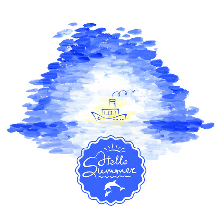 steamship: Vector illustration background sea and steamship Illustration