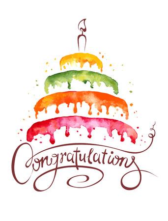 compleanno: Acquerello illustrazione Torta e Congratulazioni Vettoriali