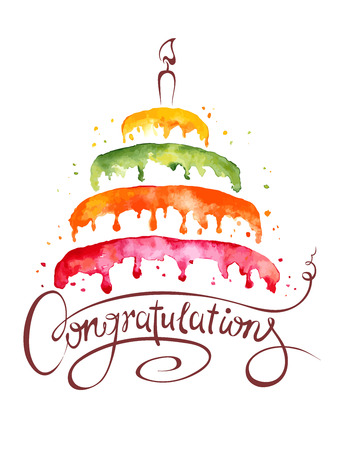 urodziny: Ilustracja akwarela tort i gratulacje Ilustracja