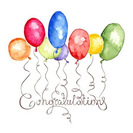 felicitaciones: Ejemplo de la acuarela de la enhorabuena con globos