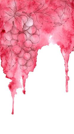 postres: Acuarela ilustración vectorial de fondo vino