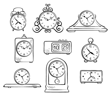 old watch: Set of illustrations - old watch