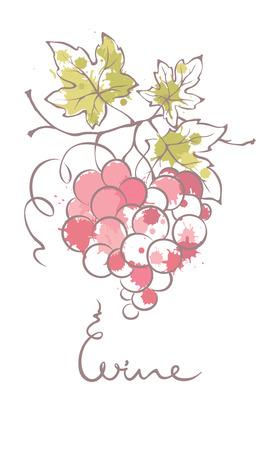 VID: Ilustración, elemento de diseño - uvas en la forma de un corazón Vectores