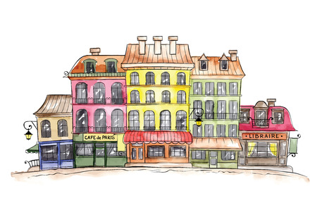 old buildings: Funny old town, watercolor sketch -- Paris Illustration