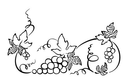 grape leaf: Design element, border -- vine. Graphic illustration.