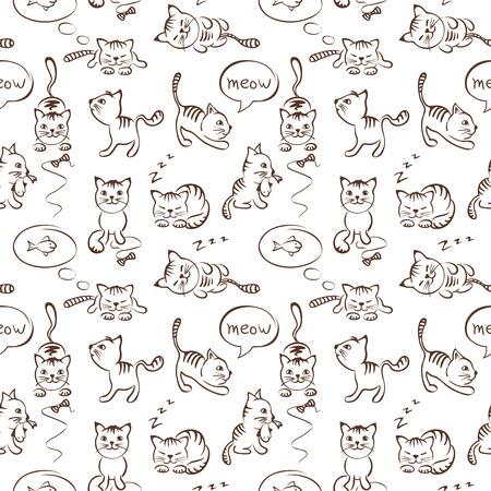 hunter playful: Pattern of funny cats, seamless Illustration