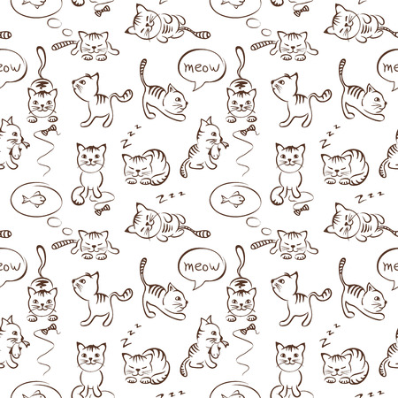 Pattern of funny cats, seamless Illustration