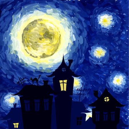 noche estrellada: Ilustración del vector, Noche estrellada en el estilo de Van Gogh, el fondo de halloween