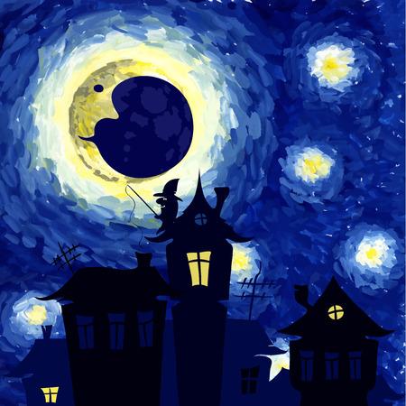 noche y luna: Ilustración del vector, Noche estrellada en el estilo de Van Gogh, el fondo de halloween