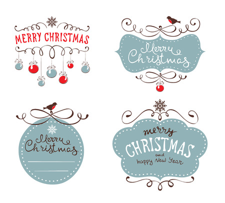 animal vector: Set design elements for Christmas and New year