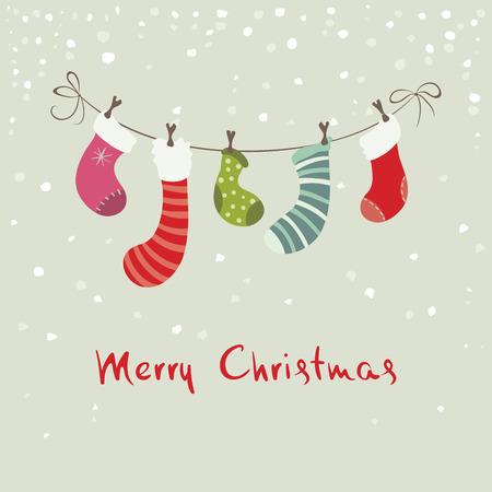 hristmas: Christmas background, postcard -- hristmas stockings for gifts Illustration