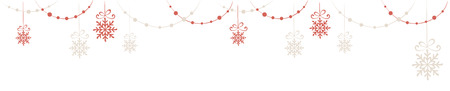 retro christmas: Horizontal narrow banner - Christmas decorations