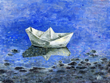 Painting - a small paper boat in the spring pool Stock Photo