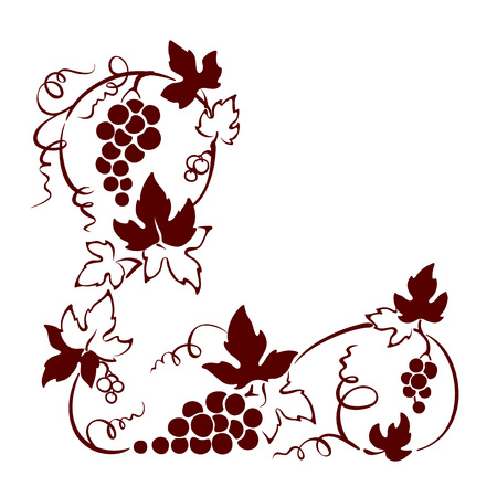 Design element, corner -- vine. Graphic illustration