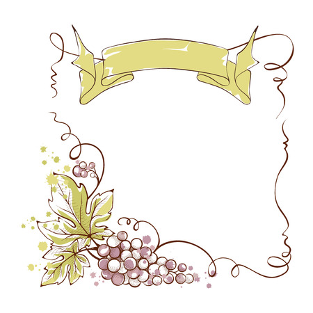 Wine label with a bunch of grapes and ribbon, illustration.