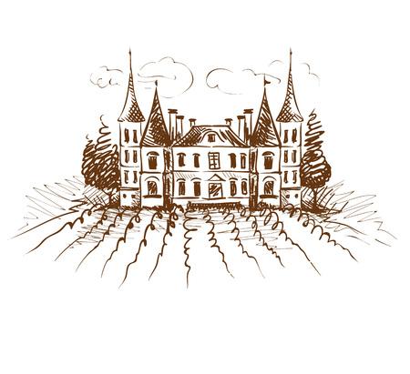 Vintage landscape with chateau