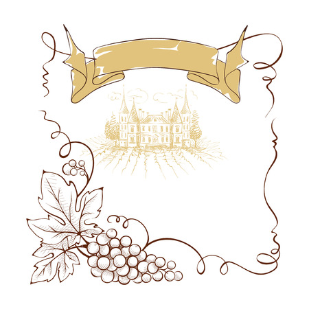 Wine label with a bunch of grapes and ribbon, illustration. Vector Illustration