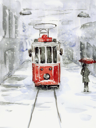 Snowfall and old tram Stock Photo