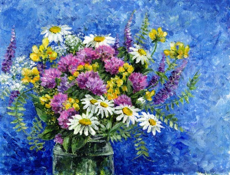 Painting - a bouquet of wild flowers in a glass jar Stock Photo