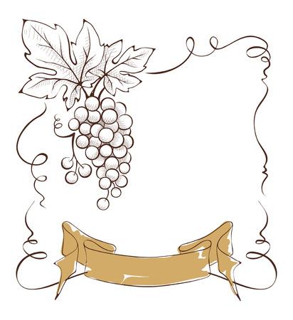 Wijnetiket met een tros druiven en lint, vector illustratie. Stock Illustratie