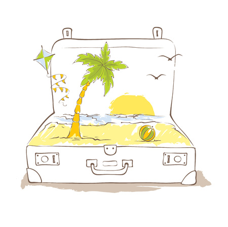 tropics: Travelers suitcase, vacation in the tropics -- vector illustration Illustration