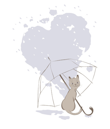 rendezvous: Kitten with umbrella, valentines card, vector illustration
