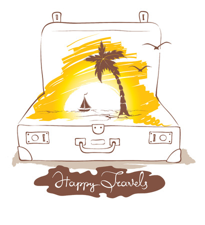 tropics: Travelers suitcase, vacation in the tropics -- illustration
