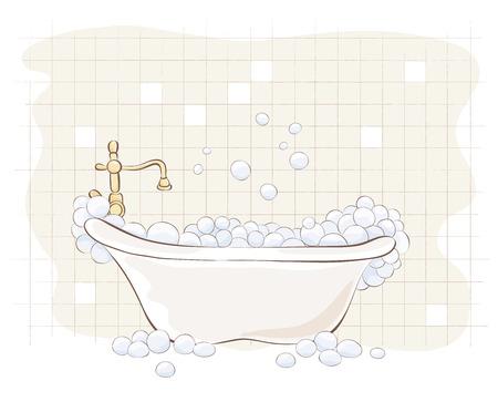 illustration - bath with foam Illustration