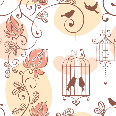 couple in summer: Wedding pattern, illustration with flowers and birds Illustration