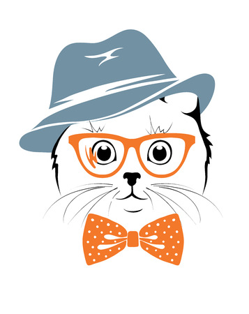personal accessories: illustration -- Stylish cat hipster