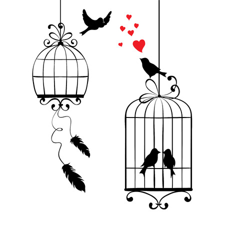 in a cage: illustration, print - love birds and cages