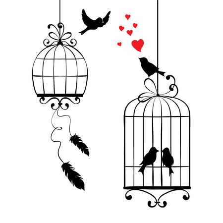 pajaros: ilustración, impresión - pájaros del amor y jaulas
