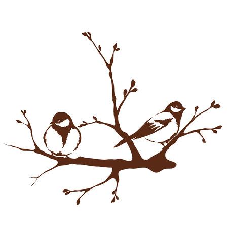 Een vogels op een tak, de lente