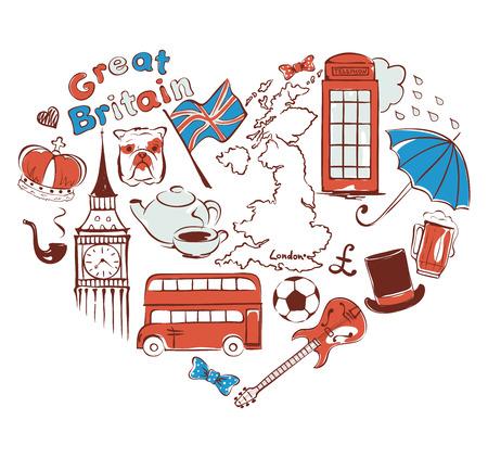 Symbols of united kingdom in the form of heart, vector illustration Illustration