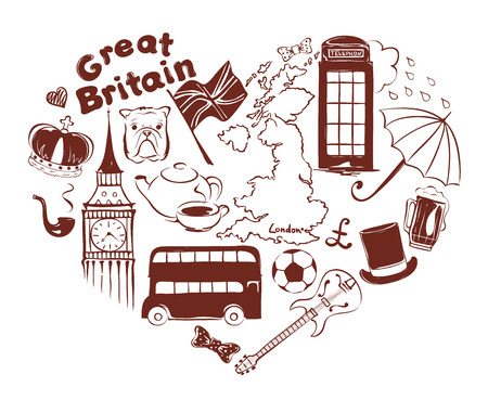 Symbols of united kingdom in the form of heart, vector illustration Vectores