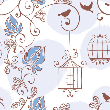 couple in summer: Spring pattern, vector illustration with flowers and birds Illustration