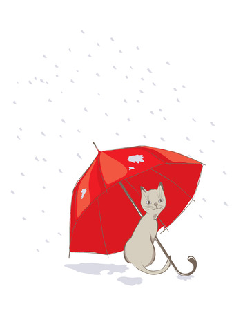 tryst: Kitten with red umbrella -- vector illustration