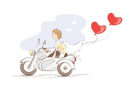 illustration, card -- just married on a motorcycle
